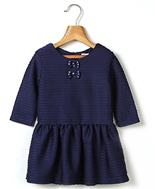 Beebay Sequin Bow Pleated Dress - Navy