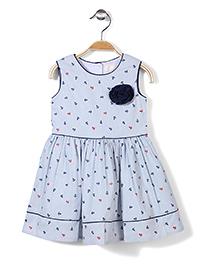 Bebe Wardrobe Sleeveless Dress Anchor Print And Rosette - Light Blue