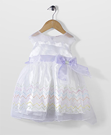 Little Coogie Sleeveless Party Dress Bow Applique - White