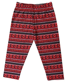 Flowers And Dots Print Cotton Lycra Leggings - Red