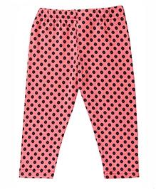 Polka Dots Cotton Lycra Leggings - Peach
