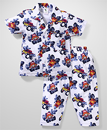 Cucumber Half Sleeves Night Suit Vehicle Print - White & Blue