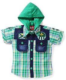 Noddy Original Clothing Hooded Checks Shirt - Green