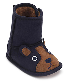 Pumpkin Patch Baby Boots Bear Design - Blue And Brown