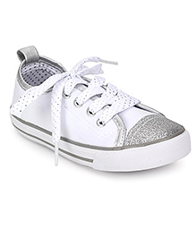 Pumpkin Patch Sneaker Shoes With Glitter - White And Silver