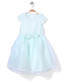 Little Coogie Cap Sleeves Party Dress Bow Applique - Light Blue