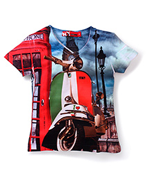 Noddy Original Clothing V Neck T-Shirt Scooter Print - Multicolour