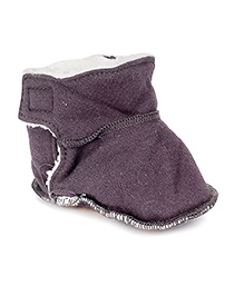 Pumpkin Patch Booties With Velcro Closure - Blackish Purple