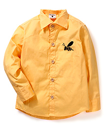 Bee Bee Long Sleeves Shirt Honeybee Embroidery - Yellow