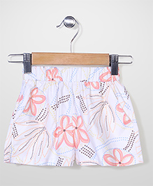 Bee Bee Flower Print Shorts - Cream