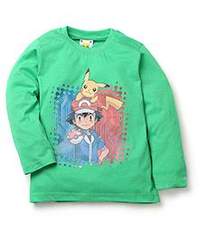 Babyhug Pokemon T-Shirt Ash Ketchum And Pikachu Print - Green