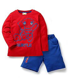 Babyhug Pokemon T-Shirt And Shorts Set Squirtle Print - Red Blue