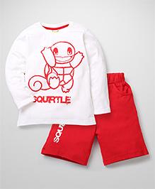 Babyhug Pokemon T-Shirt And Shorts Set Squirtle Print - White Red