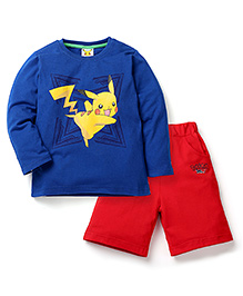 Babyhug Pokemon T-Shirt And Shorts Set - Royal Blue & Red
