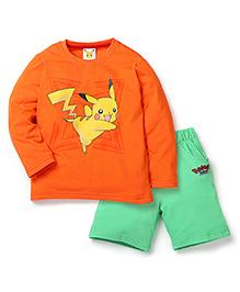 Babyhug Pokemon T-Shirt And Shorts Set - Orange & Green