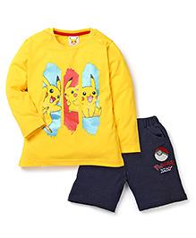 Babyhug Pokemon T-Shirt And Shorts Set Squirtle Print - Yellow Navy