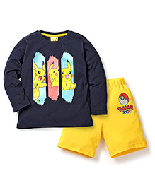 Babyhug Pokemon T-Shirt And Shorts Set Squirtle Print - Navy Yellow