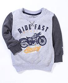 Palm Tree Full Sleeves Sweatshirt Motorcycle Print - Grey
