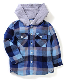 Pumpkin Patch Full Sleeves Hooded Checks Shirt - Blue