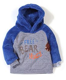 Pumpkin Patch Fur Hood & Sleeves Sweatshirt - Grey & Blue