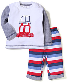 ToffyHouse T-Shirt And Stripes Pant Set - White And Multi