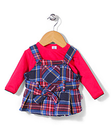 ToffyHouse Frock With Inner Tee Checks Print - Red Blue