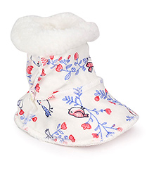 Pumpkin Patch Fluffy Booties Floral Print - White