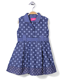 Kiddy Mall Sleeveless Frock Polka Dots - Navy Blue