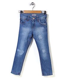 Button Noses Patchwork Denim Jeans - Light Blue
