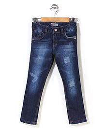 Button Noses Patchwork Denim Jeans - Navy Blue
