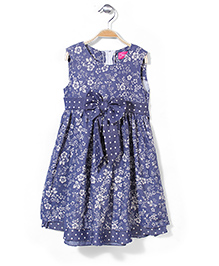 Kiddy Mall Sleeveless Frock Floral Print And Bow - Dark Blue