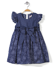 Kiddy Mall Flutter Sleeves Frock With Bow - Navy Blue