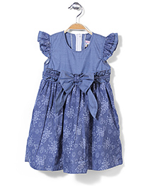 Kiddy Mall Flutter Sleeves Frock With Bow - Blue