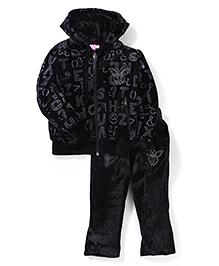 Mickey Hooded Velvet Jacket And Pant Set - Black