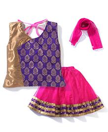 Kilakri Ethnic Sleeveless Ghaghra Chloi Set - Blue & Fuchsia Pink