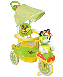 Tricycle With Canopy And Push Handle Cat Design - Green