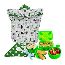 Green - Alphabet Print Washable Lunch Bag And Napkin Set By Kadambaby