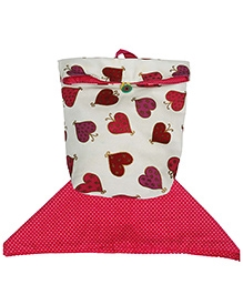 Kadam Baby Little Hearts Lunch Bag And Napkin Set - Red And White
