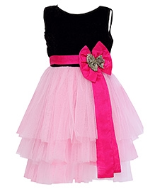 K&U Sleeveless Layered Party Wear Frock Bow Applique - Black Pink