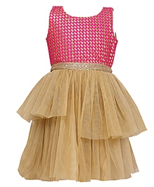 K&U Sleeveless Layered Party Wear Frock - Pink Golden