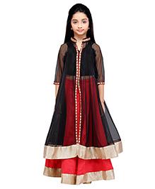 K&U Lehenga Choli With Jacket - Black Red