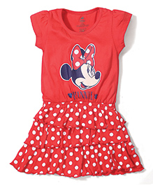 Disney by Babyhug Short Sleeves Frock Minnie Print - Red