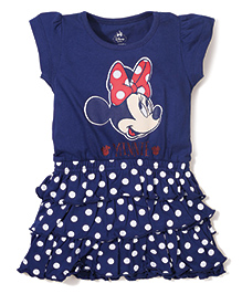 Disney by Babyhug Short Sleeves Frock Minnie Print - Blue