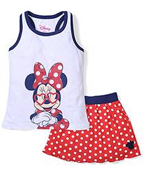 Disney by Babyhug Sleeveless Minnie Printed Top & Dotted Skirt Set - White & Red