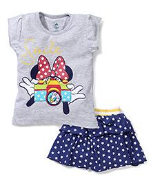 Disney by Babyhug Top and Skirt Set Smile Print - Grey and Blue