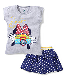 Disney by Babyhug Top and Skirt Set Smile Print - Grey and Blue