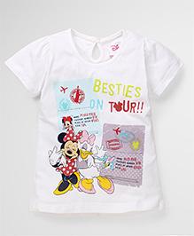 Disney By Babyhug Half Sleeves Top Besties Print - White