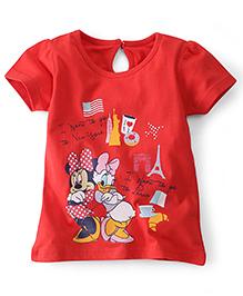 Disney By Babyhug Half Sleeves Top Minnie Daisy Print - Red