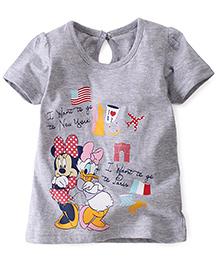 Disney By Babyhug Half Sleeves Top Minnie Daisy Print - Grey