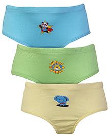 Babyhug Pack of 3 Briefs Multi Print - Cream Blue Green